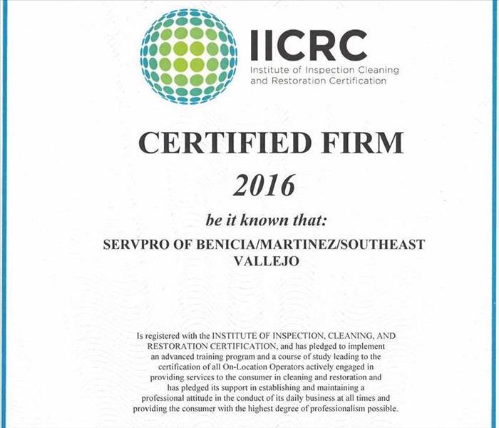 Iicrc Certified Firm Servpro Of Benicia Martinez Southeast Vallejo